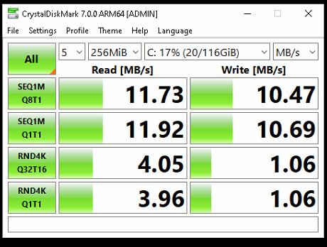 SD card benchmark results. 11MB read/write. 4mb random read and 1mb random write